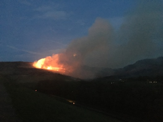 A very big fire on an enormous moorland