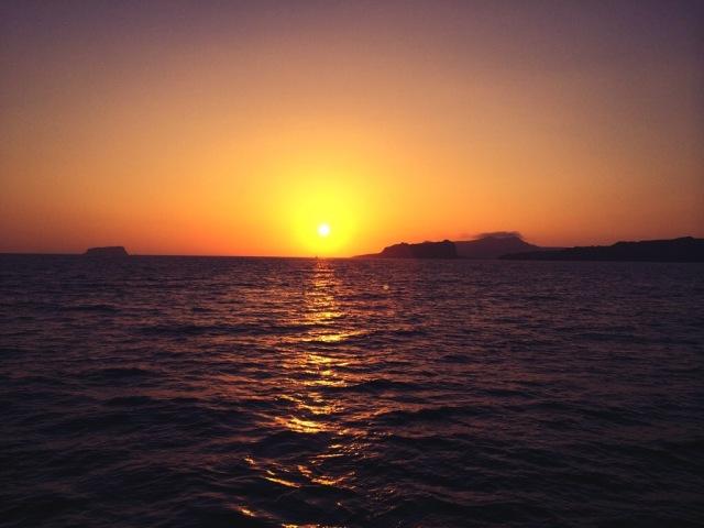 Santorini in the Caldera Watching the sun go down